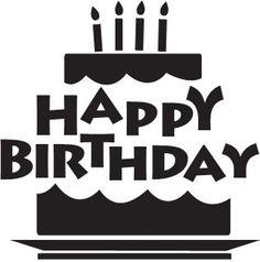 Happy black white greetings. Birthday clipart silhouette