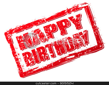 Birthday clipart stamp. Happy stock vector