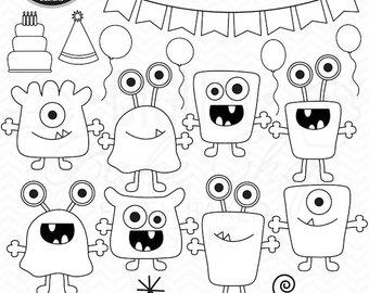 Monster aliens clip art. Birthday clipart stamp