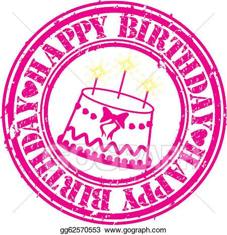 Birthday clipart stamp. Vector grunge happy rubber