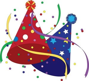 Celebrate clipart streamer. Free party hats clip