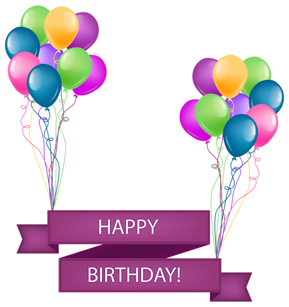 Happy birthday with balloons. Streamers clipart party banner