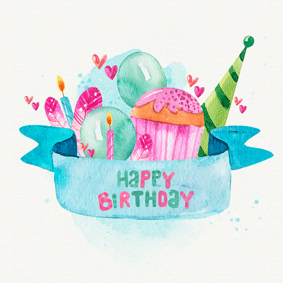 Birthday clipart watercolor. Happy cards graphic elements