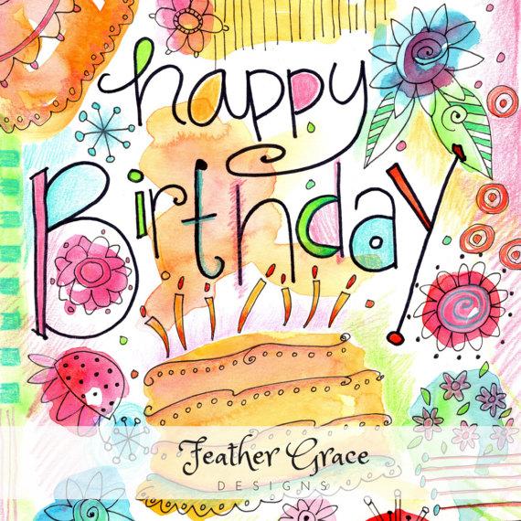 Birthday clipart watercolor. Clip art happy
