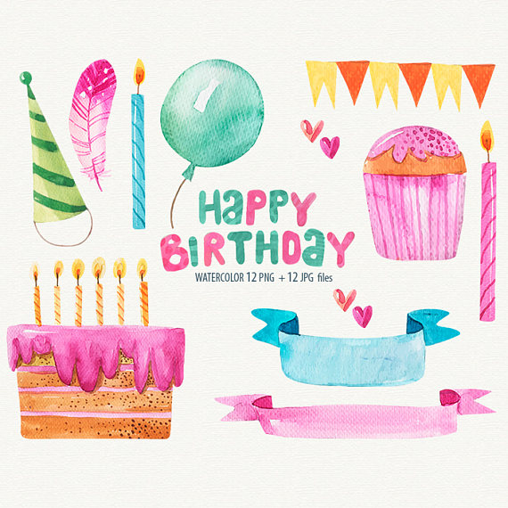 Candles clipart watercolor. Birthday happy cards