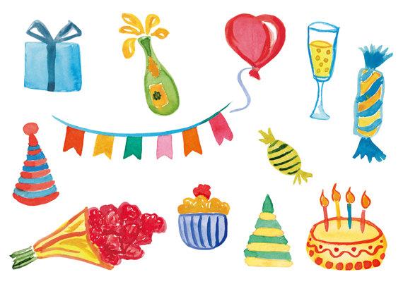 Birthday clipart watercolor.  cliparts clip art