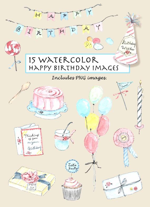 Birthday clipart watercolor. Clip art vintage happy