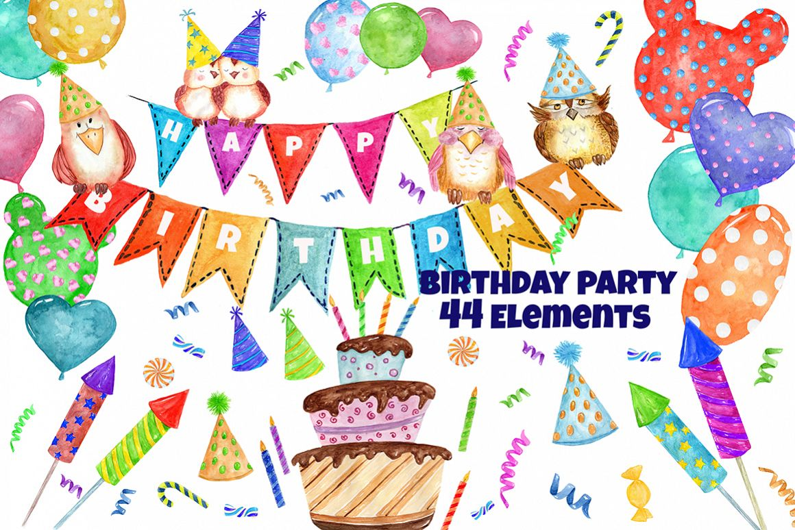 Party by vi design. Birthday clipart watercolor