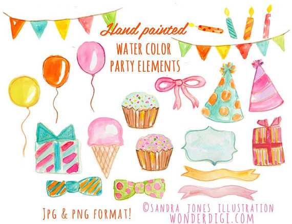 Candles clipart watercolor. Birthday party