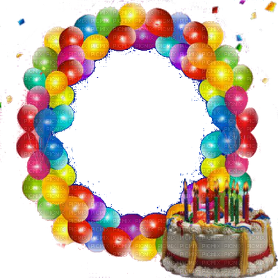 Balloons picmix. Birthday frame png