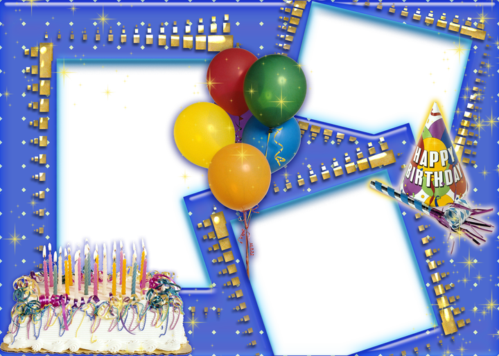 Birthday frame png. Collage transparent happy photo