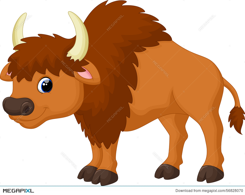 Bison clipart angry. Cute cartoon illustration megapixl