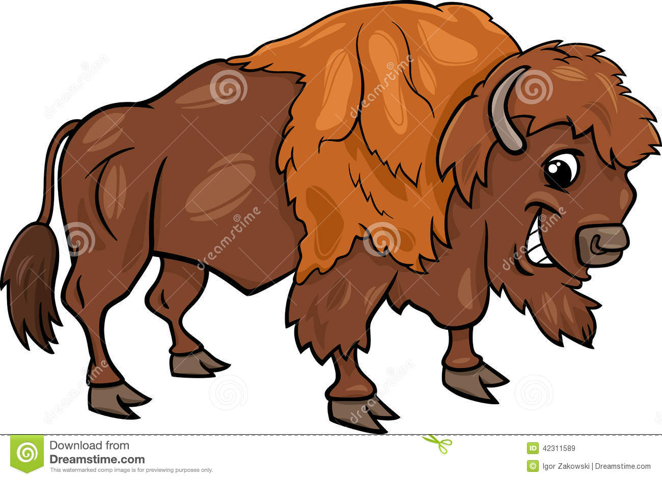 Funny . Bison clipart animated