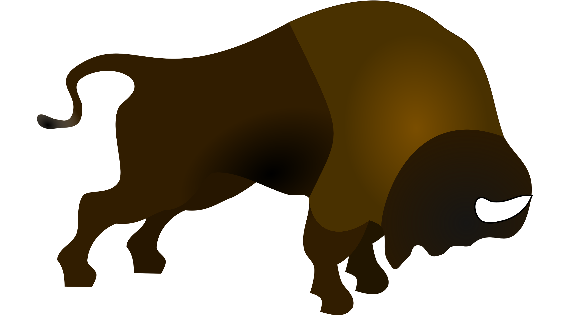 Bucking in colour icons. Bison clipart baby bison