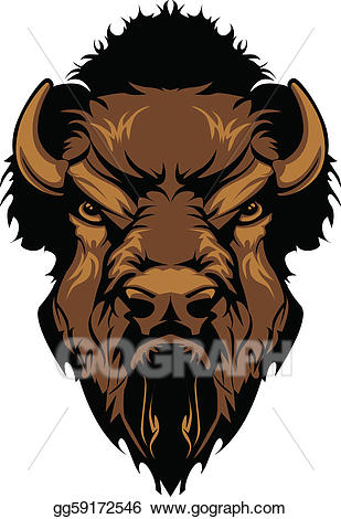 Clip art vector buffalo. Bison clipart bison head