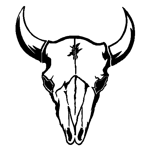 Bison clipart bison head. Black and white design