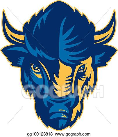 Bison clipart bison head. Vector art frnt retro
