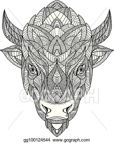 Bison clipart bison head. Eps vector american geo