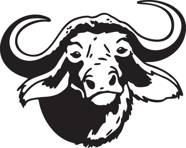 Buffalo head pencil in. Bison clipart black and white
