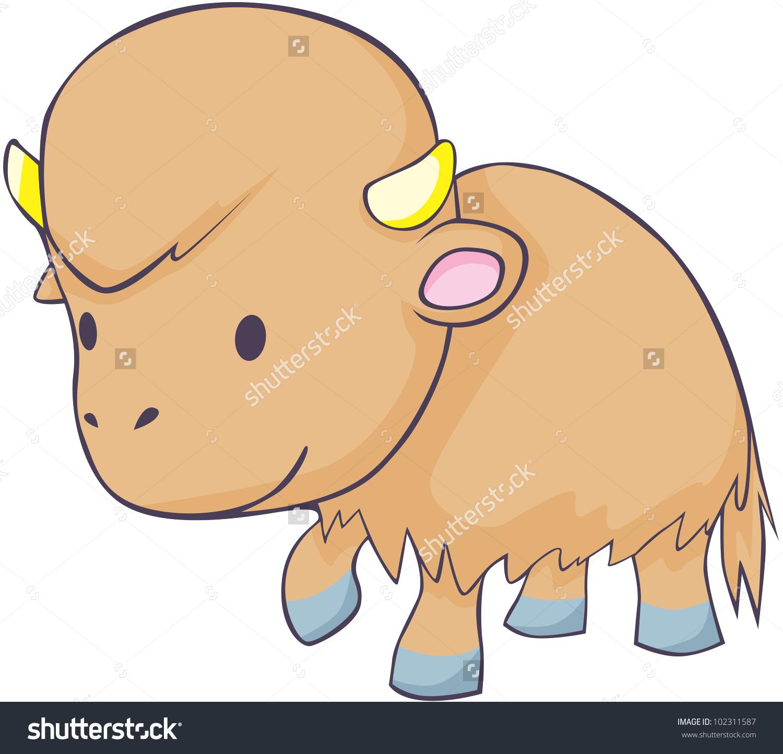 Cute buffalo free cartoon. Bison clipart bufallo