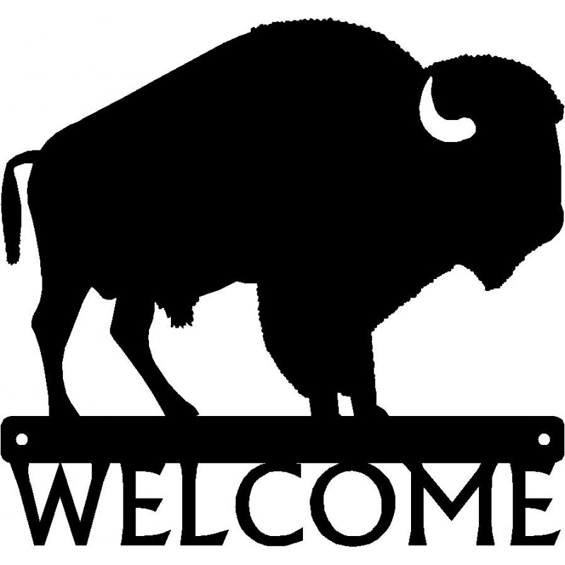 Buffalo clipart bison. Welcome sign