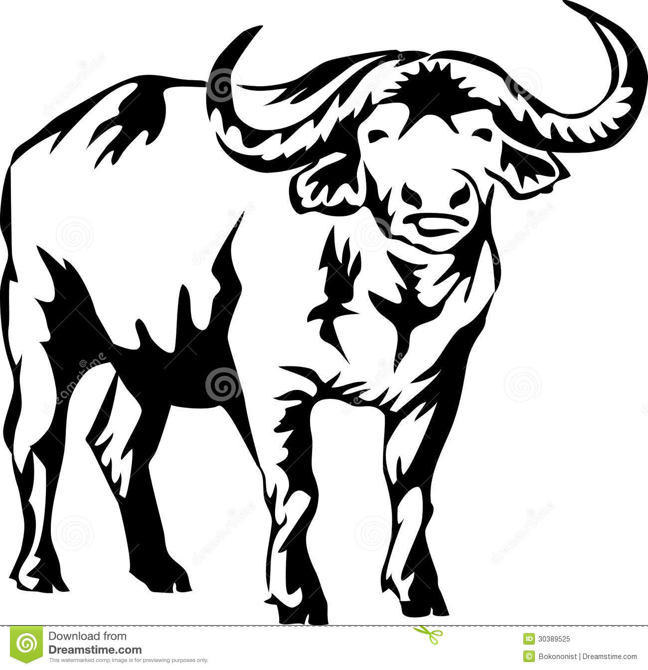 Free white collection silhouette. Buffalo clipart illustration