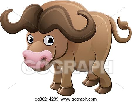 Bison clipart buffalo animal. Vector illustration cartoon character