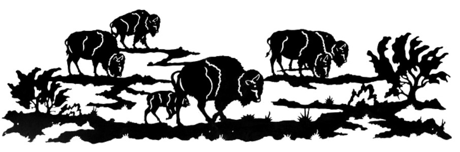 Southwestern wall art sculpture. Bison clipart buffalo herd