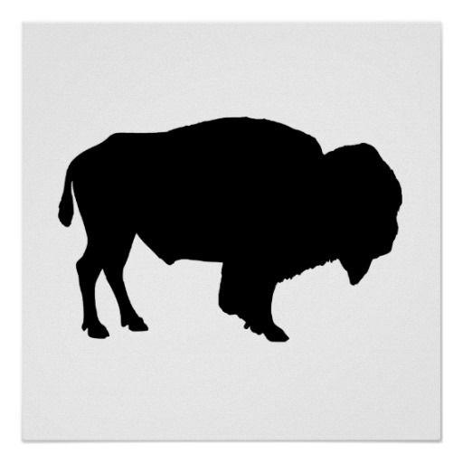 Bison clipart buffalo silhouette. Poster zazzle com art
