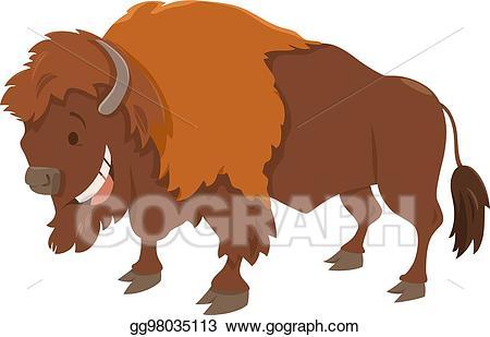 Vector animal character . Bison clipart cartoon