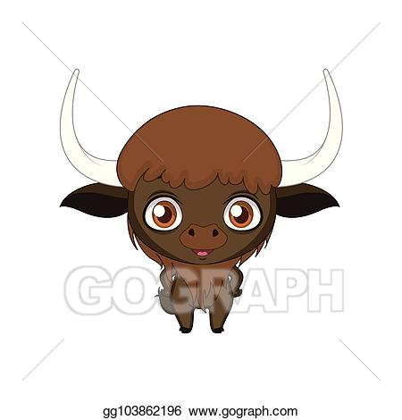 Bison clipart cute. Vector stylized cartoon illustration