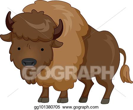 Bison clipart cute. Vector stock animal brown