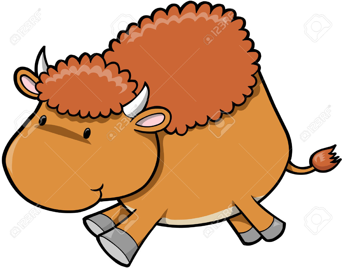Free cartoon cliparts download. Bison clipart cute