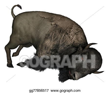 Stock illustration d render. Bison clipart dead
