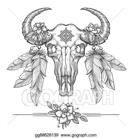 Bison clipart dead. Vector stock buffalo or