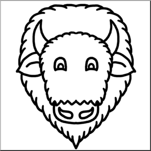 Bison clipart face. Clip art cartoon animal