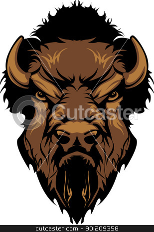 Pencil and in color. Bison clipart face