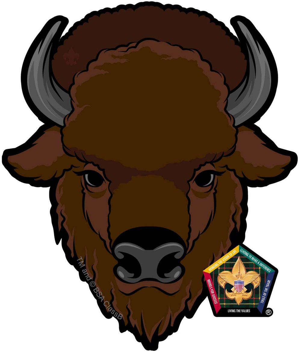 Wood badge car window. Bison clipart female buffalo