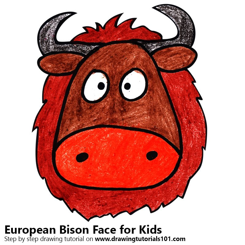 Bison clipart kawaii. Learn how to draw