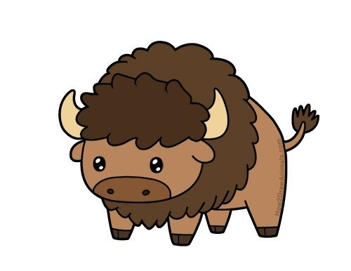 Learn to draw a. Bison clipart kawaii