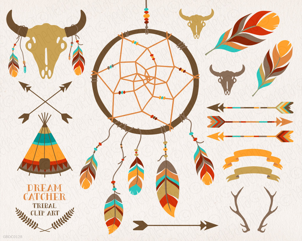 Dreamcatcher teepee feathers crossed. Bison clipart kid
