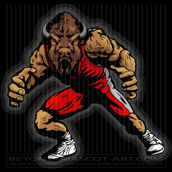 Bison clipart mascot. Wrestling vector clip art