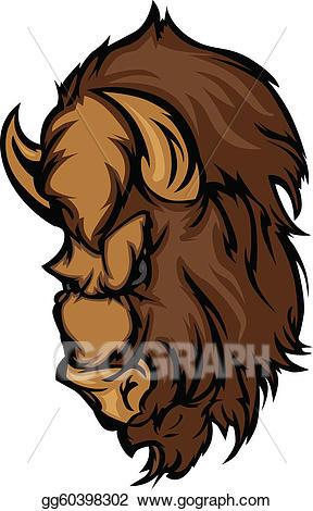 Eps illustration buffalo head. Bison clipart mascot