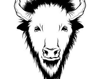Bison clipart mascot. Paper company etsy buffalo
