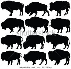 Bison clipart native american buffalo. Set of silhouettes vector