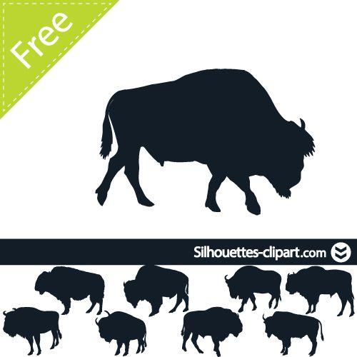 Bison clipart native american buffalo. Vector silhouette silhouettes