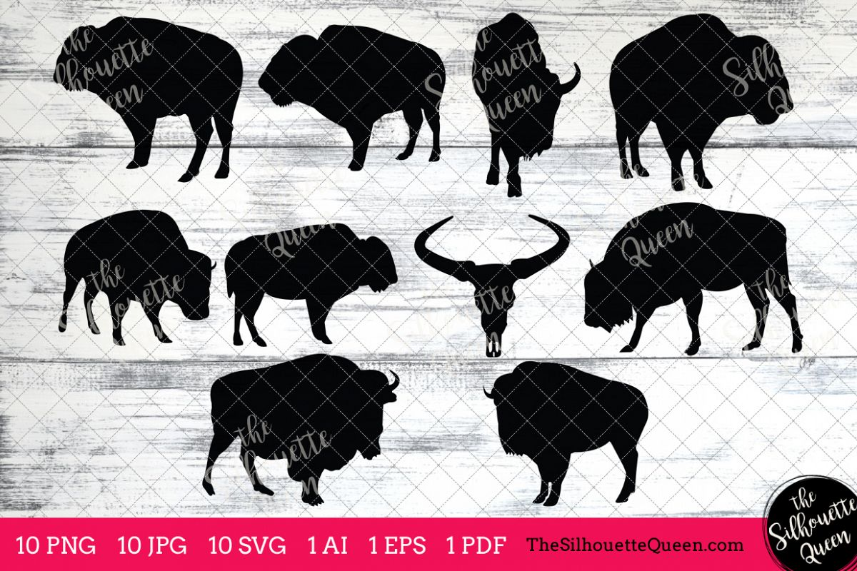 Bison clipart vector. Silhouettes clip art ai