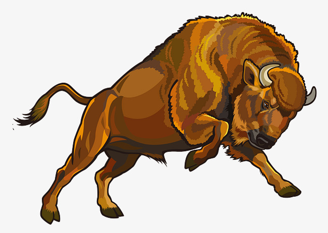Painted hand cartoon wild. Bison clipart vector