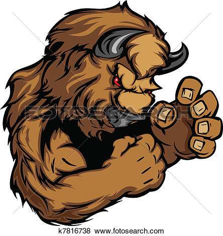 Angry pencil and in. Bison clipart vector