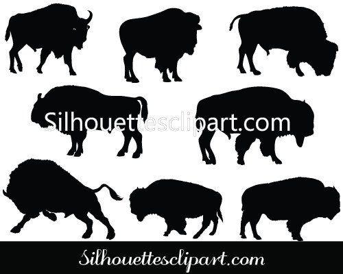 Bison clipart vector. Silhouette graphics clip art
